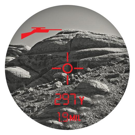 View through a scope POV reticle