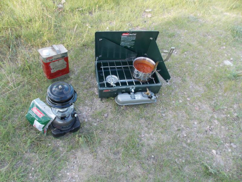 Coleman gear outfitting a campsite