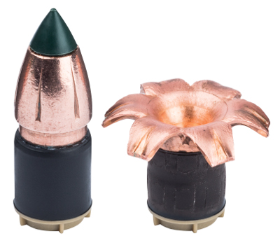 Cutaway drawing shows sectioned BOR bullet.
