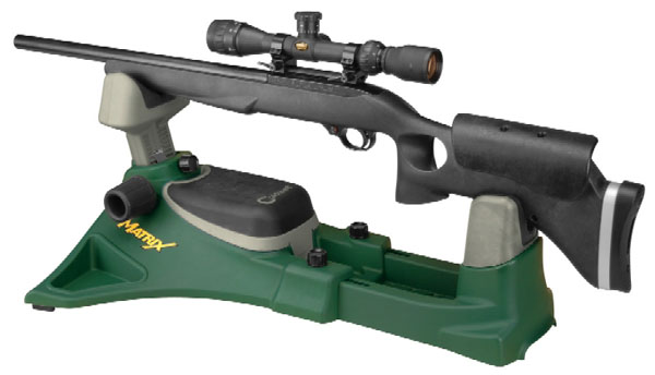 A scoped target rifle seat on a shooting rest