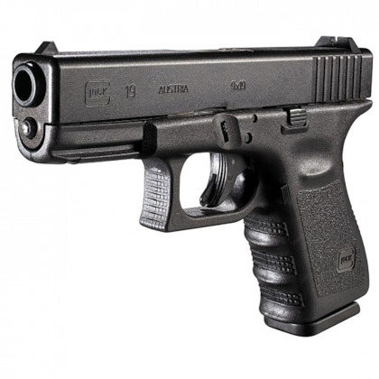 glock model 23 pistol chambered in caliber 9mm Parabellum
