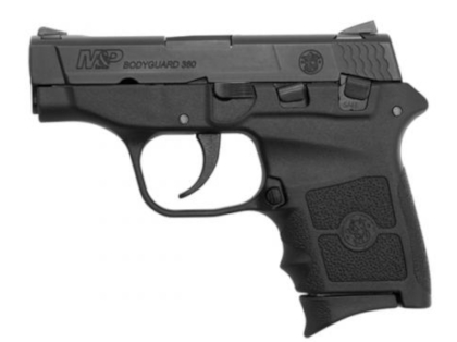 Smith & Wesson M&P Bodyguard 380 semi-automatic handgun fitted with Crimson Trace laser sights