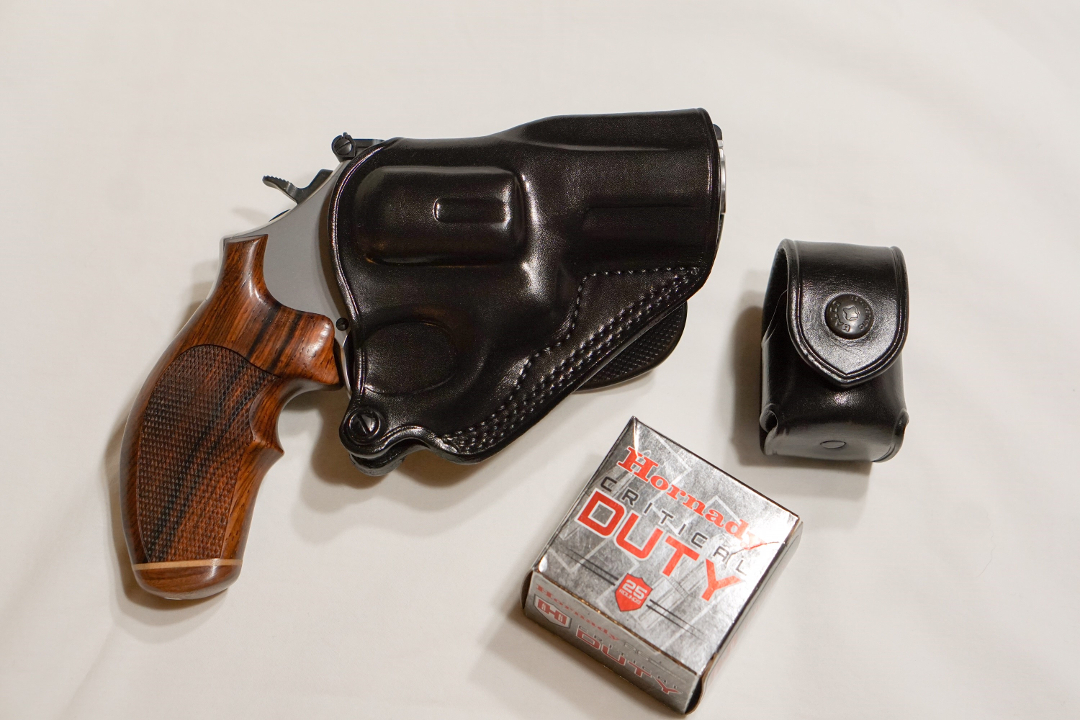 S&W M66 handgun holstered